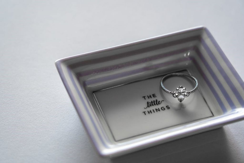 Silver Ring On Tray